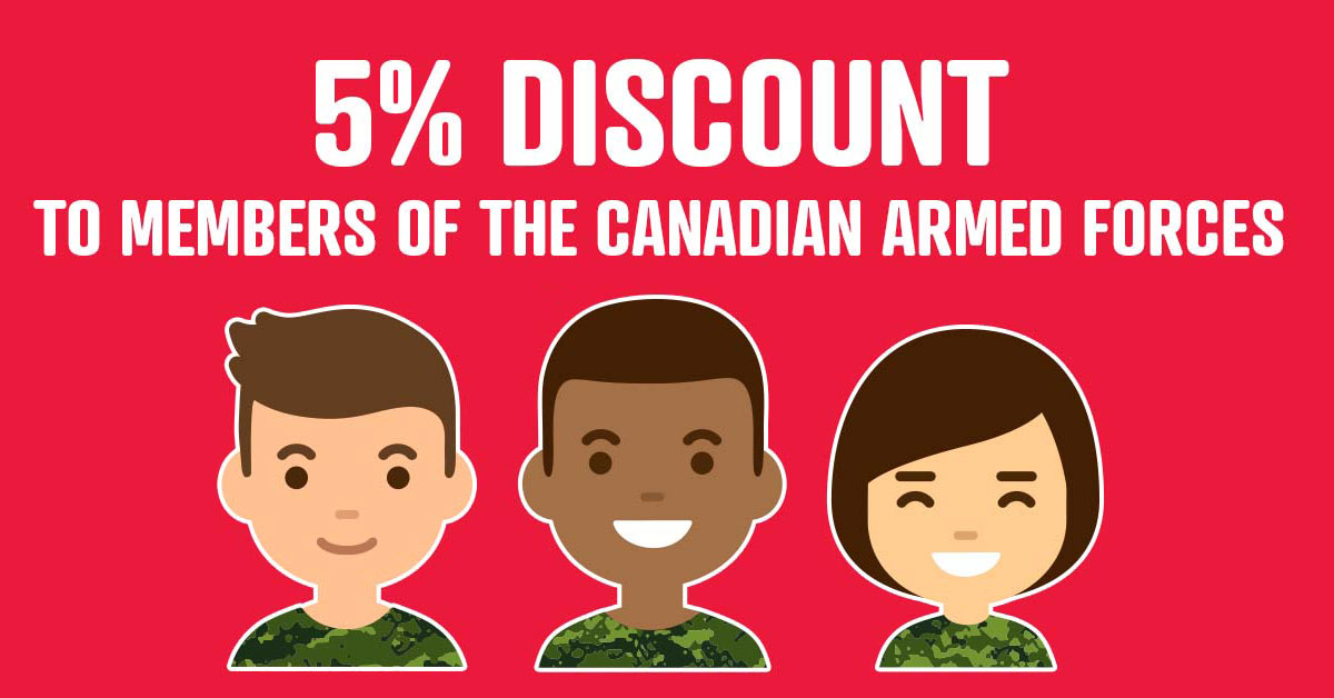 Surefire is proud to offer Canada's Military Members a 5% Discount.